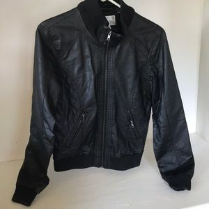 Faux black leather jacket in size medium.
